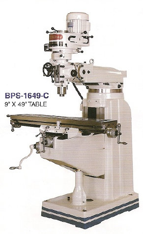 BIRMINGHAM  BPS-1649-C  STEP  PULLEY  MILLING  MACHINE  9 x 49  TABLE